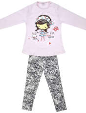 ست تی شرت و شلوار دخترانه طرح دختر و خرگوش کد 3075 رنگ صورتی -  - 2