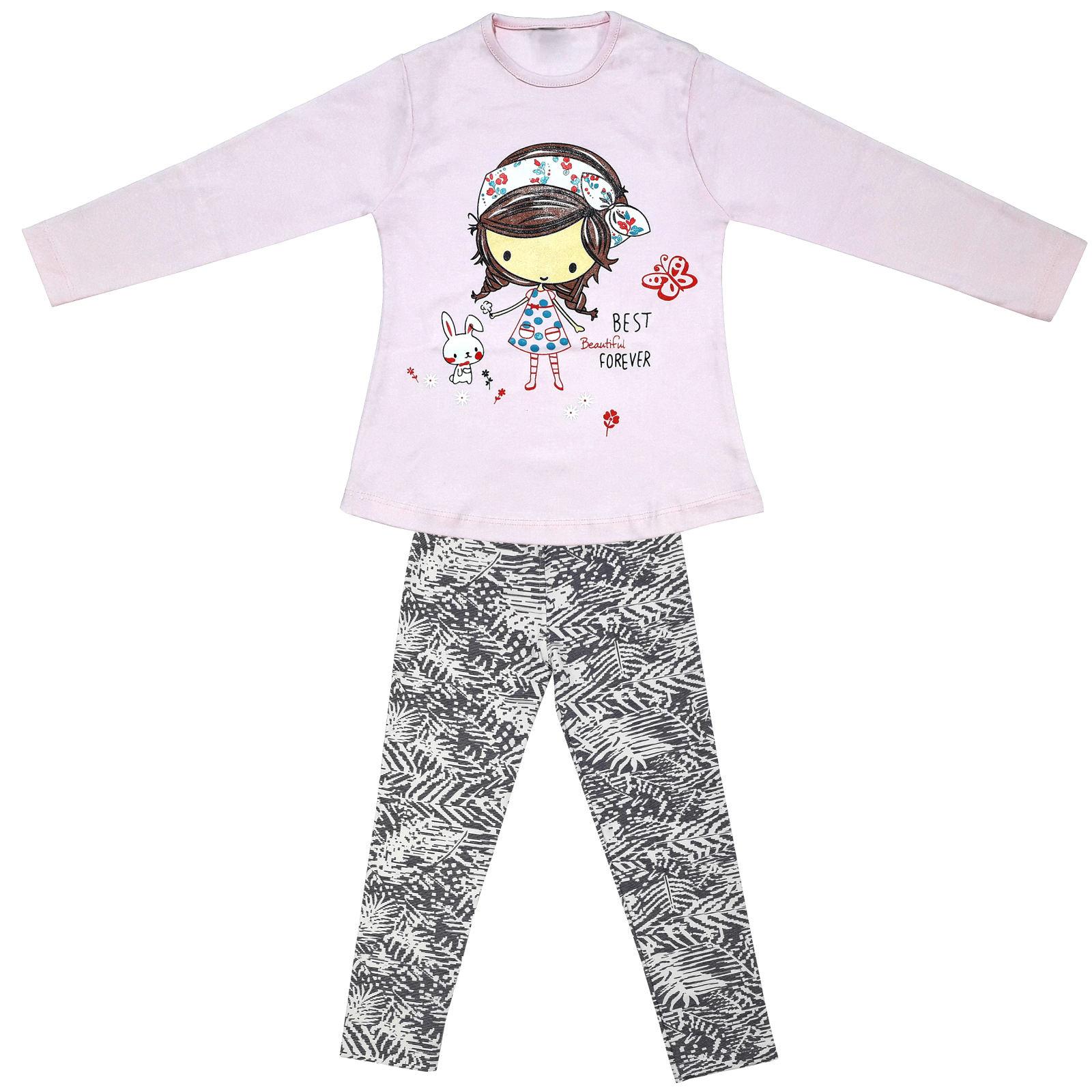 ست تی شرت و شلوار دخترانه طرح دختر و خرگوش کد 3075 رنگ صورتی -  - 3