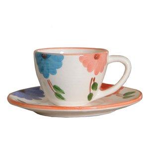 فنجان و نعلبکی سفالی طرح گلدار کد q1