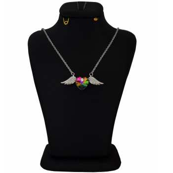گردنبند نقره زنانه سواروسکی طرح بال عشق کد NC 021
