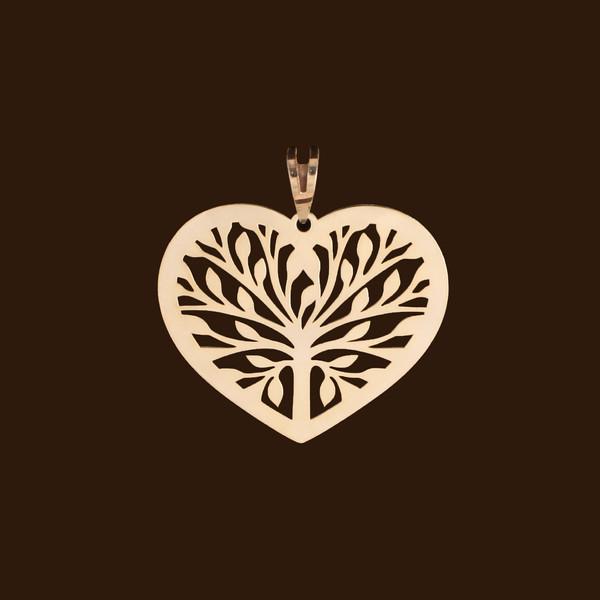 آویز گردنبند طلا 18 عیار زنانه آمانژ مدل قلب کد D10311