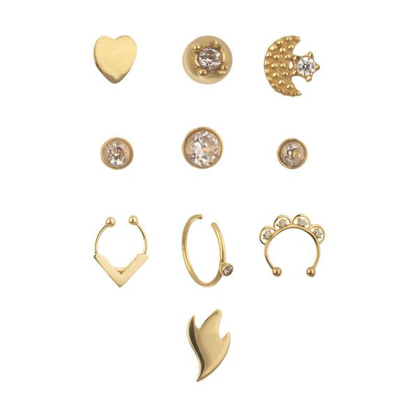 پیرسینگ طلا 18 عیار زنانه مایا ماهک مدل MO0102 مجموعه 10 عددی