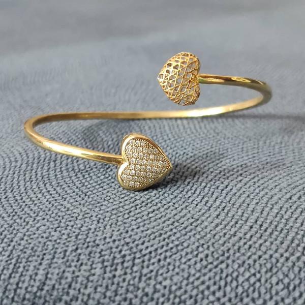 دستبند طلا 18 عیار زنانه قیراط طرح قلب کد GH107
