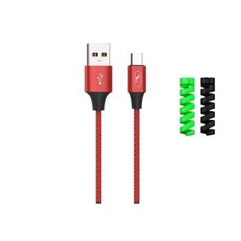 کابل تبدیل USB به microUSB اسکای دلفین مدل S55V طول 1 متر به همراه دو عدد محافظ کابل