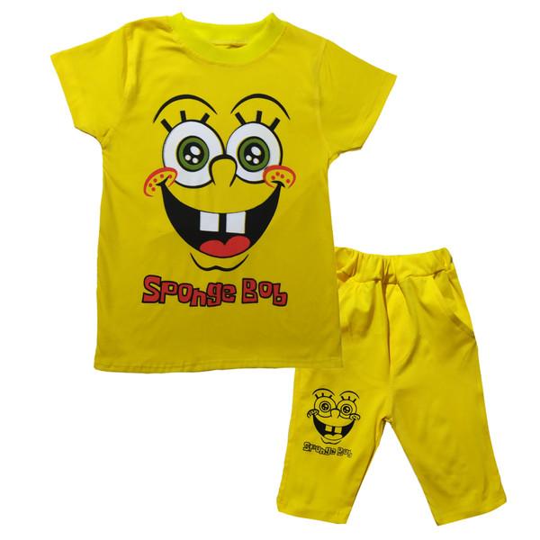 ست تی شرت و شلوارک بچگانه مدل باب اسفنجی کد B01