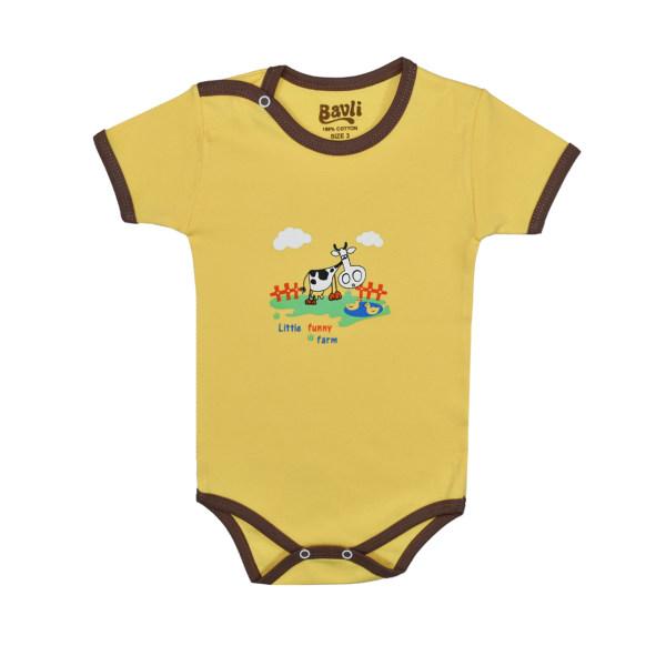 بادی آستین کوتاه نوزادی باولی مدل گاو