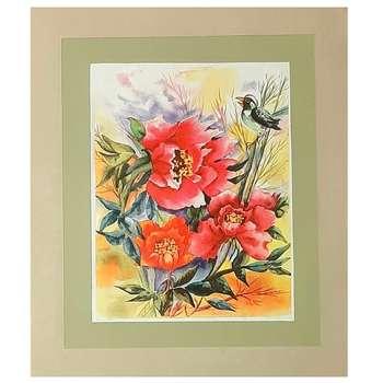 نقاشی آبرنگ طرح پرنده در باغ گل