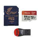 کارت حافظه microSDXC ویکو من مدل Final 600X کلاس 10 استاندارد UHS-I U3 سرعت 90MBps ظرفیت 64گیگابایت همراه با کارت خوان thumb