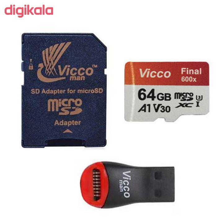 کارت حافظه microSDXC ویکو من مدل Final 600X کلاس 10 استاندارد UHS-I U3 سرعت 90MBps ظرفیت 64گیگابایت همراه با کارت خوان main 1 1