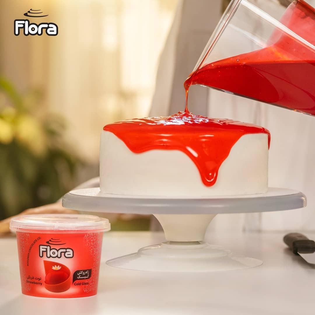 ژله تزیین کیک و شیرینی با طعم توت فرنگی فلورا - 300 گرم main 1 2