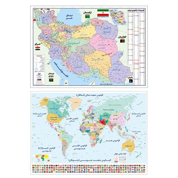 پوستر آموزشیمدل نقشه ایران و نقشه جهان و پرچم ها مجموعه 2 عددی