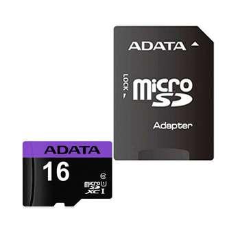 کارت حافظه microSDHC ای دیتا مدل Premier کلاس 10 استاندارد UHS-I U1 سرعت 80MBps ظرفیت 16 گیگابایت به همراه با آداپتور SD