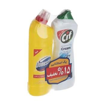 مایع کرمی پاک کننده چندمنظوره سطوح سیف کد 004  حجم 750 میلی لیتر و سفید کننده غلیظ سطوح دامستوس مدل Lemonحجم 750 گرم