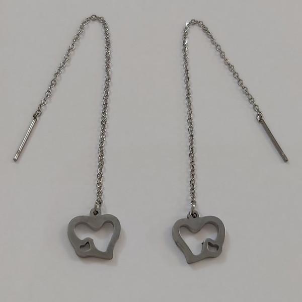 گوشواره زنانه استینلس استیل مدل بخیه طرح قلب کد heart112