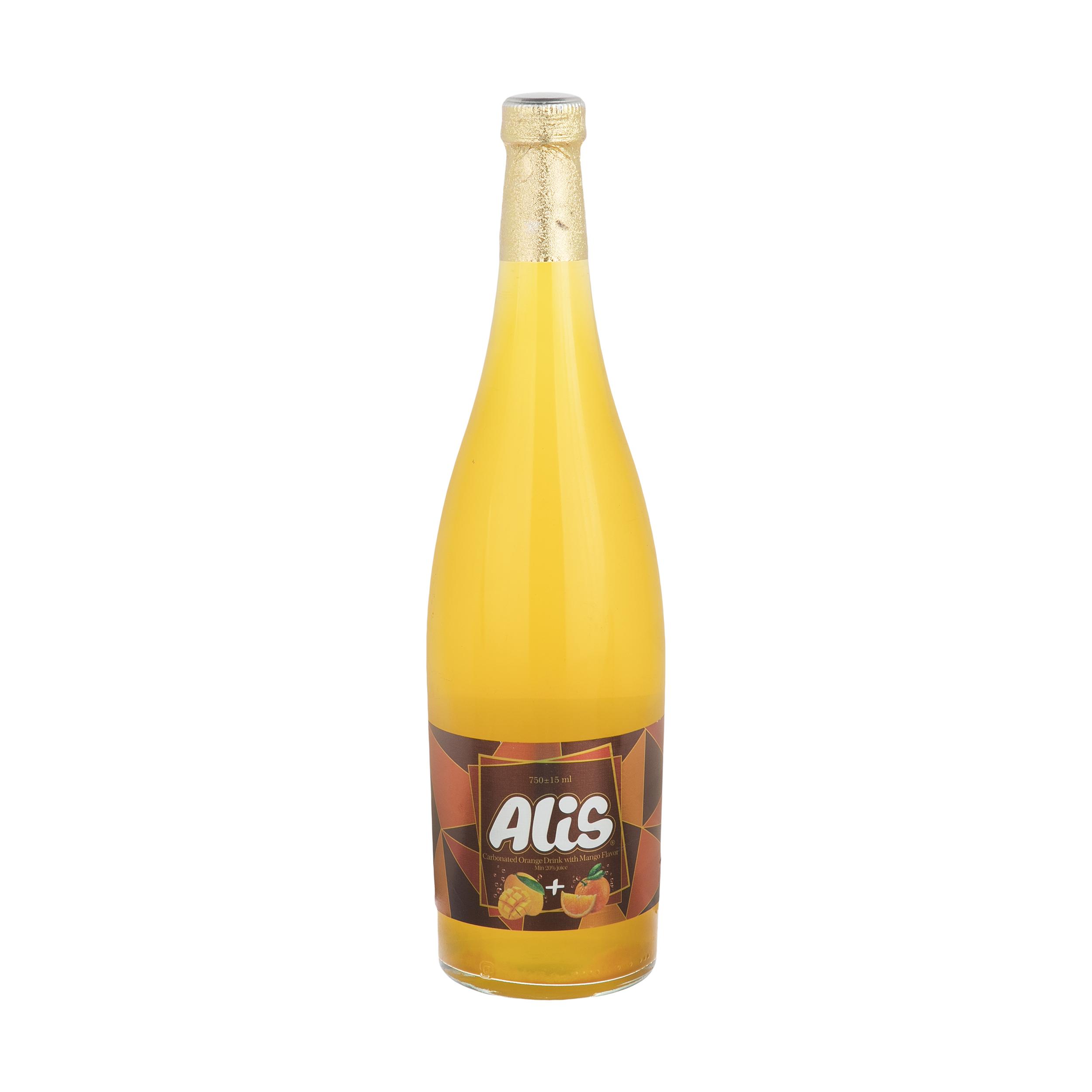 نوشیدنی میوه ای گازدار عالیس با طعم پرتقال و انبه - 750 میلی لیتر