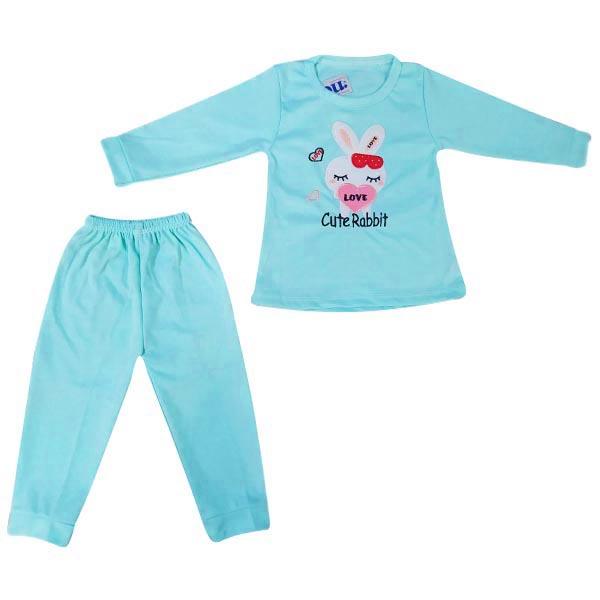 ست تی شرت و شلوار نوزادی دخترانه مدل Rabbit رنگ آبی