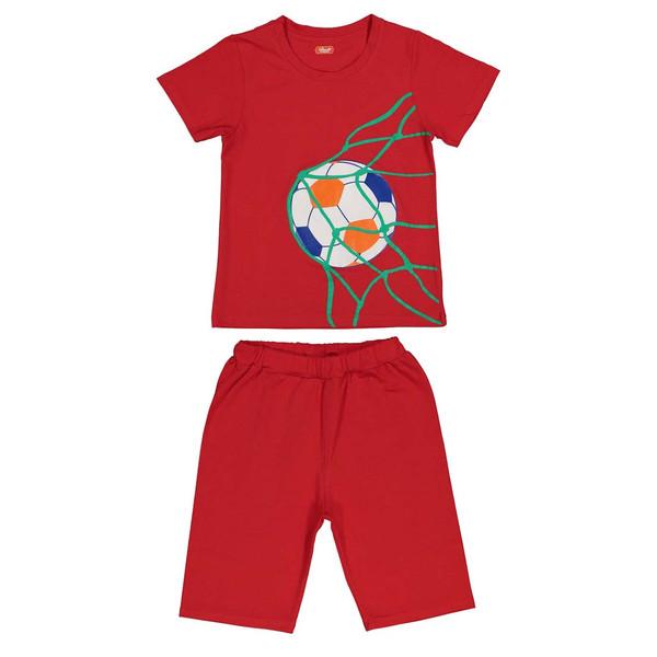 ست تی شرت و شلوارک پسرانه مادر مدل فوتبالی _RED