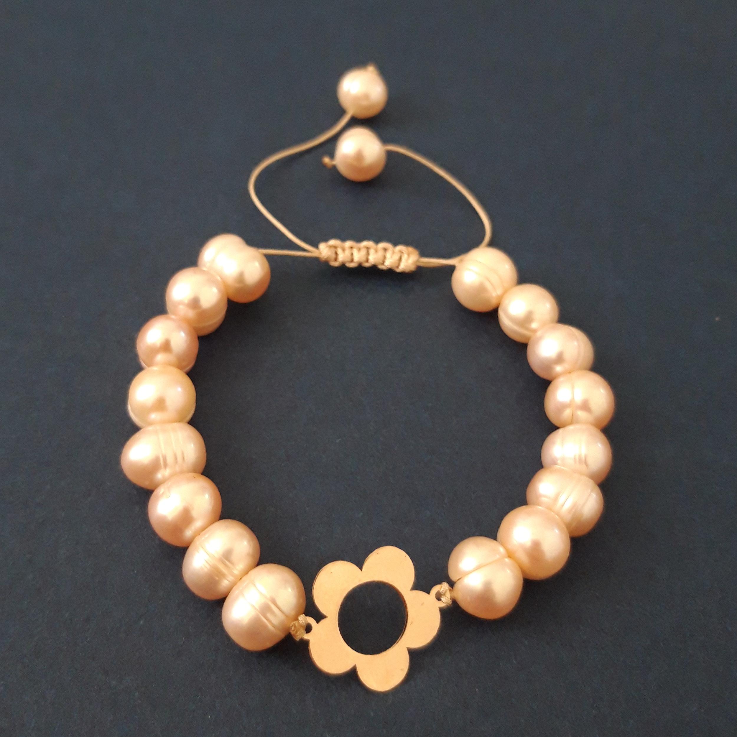 دستبند طلا 18 عیار زنانه الماسین آذر طرح گل مدل Gol02