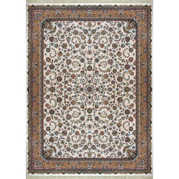 فرش ماشینی افرند کد 7764 زمینه کرم