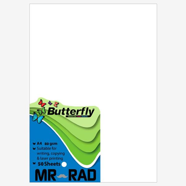 کاغذ A4 مستر راد مدل پروانه بسته 50 عددی