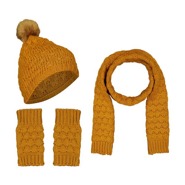 ست کلاه و شال گردن و دستکش بافتنی زنانه رویا مدل 1001-01