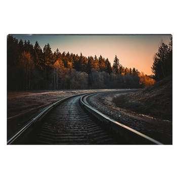 تابلو شاسی طرح ریل قطار در جنگل پاییزی کد 4G-AVZ-6017