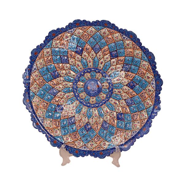 بشقاب مینا کاری گرد  رنگ آبی طرح اسلیمی مدل 1000100002