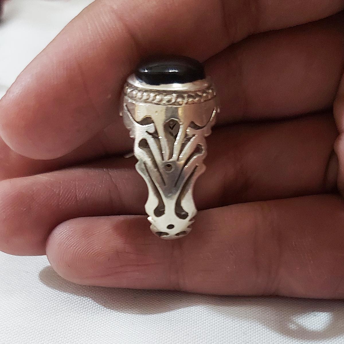 انگشتر نقره مردانه سلین کالا مدل عقیق یمن ce-As135