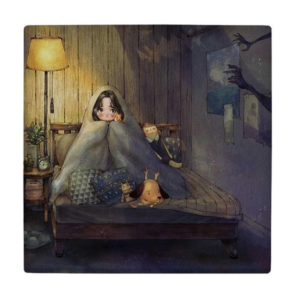 کاشی طرح نقاشی دختر بچه زیر پتو و آباژور کد wk4375