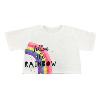 تی شرت آستین کوتاه دخترانه مدل رنگین کمانی کد 101