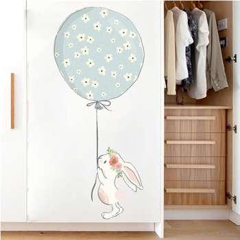 استیکر دیواری کودک مدل خرگوش و بادکنک آبی