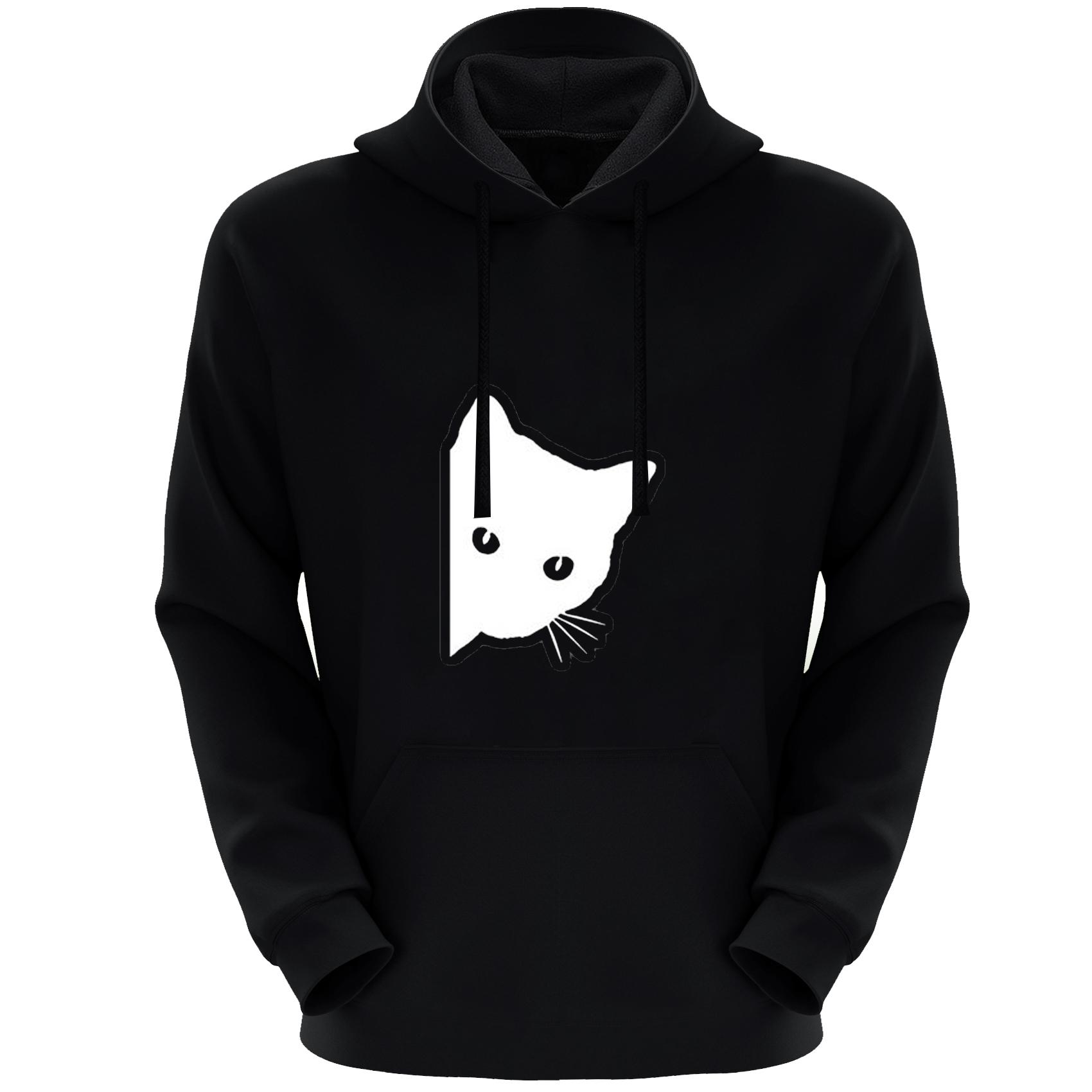 هودی مردانه مدل گربه X51 رنگ مشکی