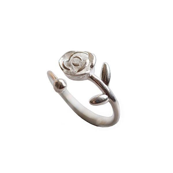 انگشتر نقره زنانه مدل گل رز