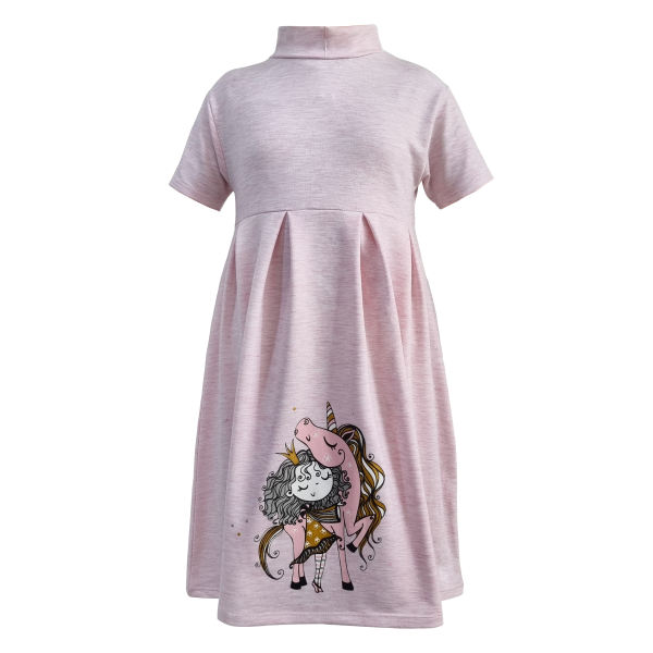 پیراهن دخترانه افراتین مدل اسب شاخ دار رنگ صورتی روشن