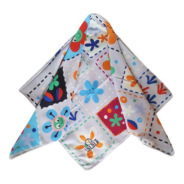 روسری دخترانه سی سی مدل گل و ستاره کد san925