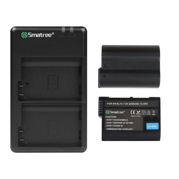 شارژر باتری دوربین اسماتری مدل EN-EL15 به همراه 2 عدد باتری