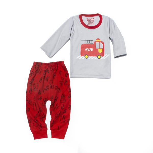 ست تی شرت و شلوار بچگانه مدل آتش نشانی کد 800