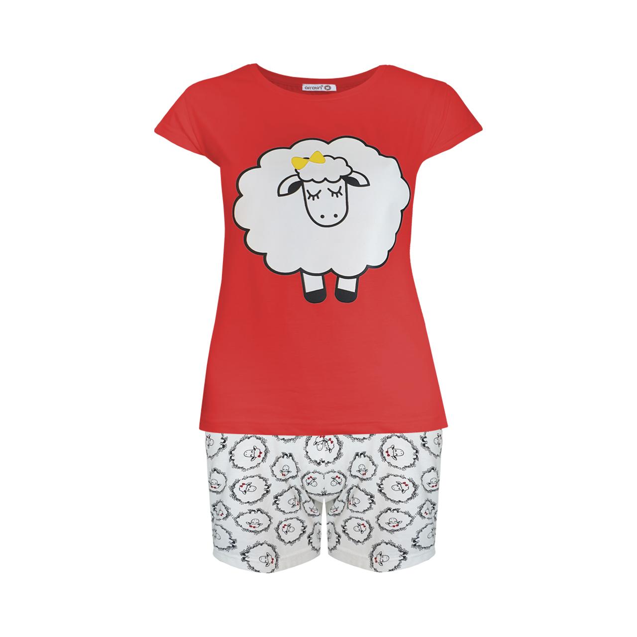 ست تی شرت و شلوارک زنانه افراتین طرح ببعی کد 6539 رنگ قرمز