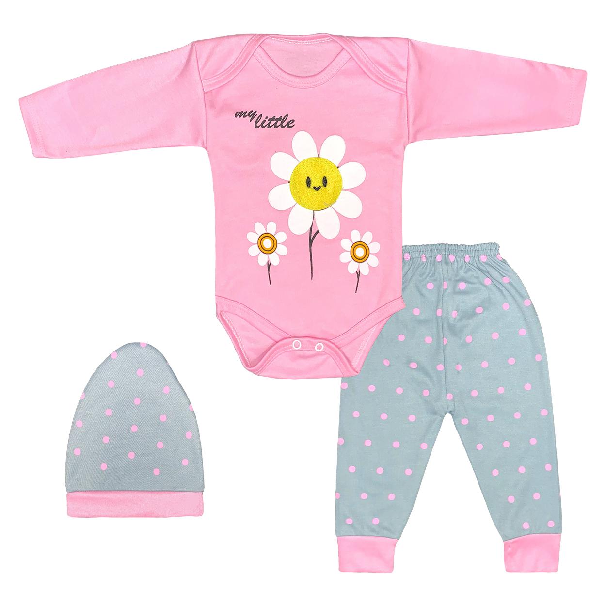 ست 3 تکه لباس نوزادی دخترانه طرح آفتابگردان کد FF-176