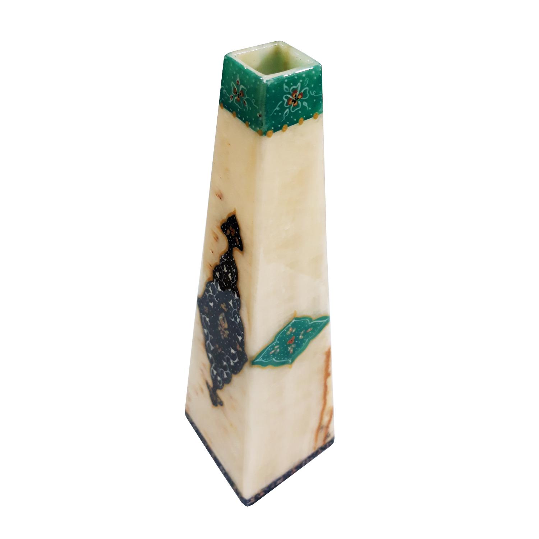 خرید                      گلدان سنگ مرمر طرح ترنج مدل EG013