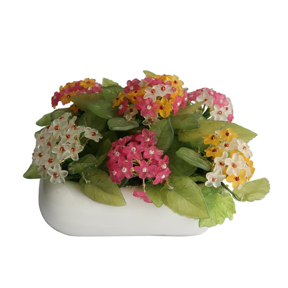گلدان به همراه گل مصنوعی مدل شاه پسند کد 7611