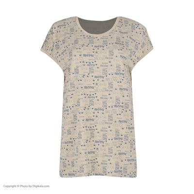 تی شرت آستین کوتاه زنانهطرح گربه کد 0115 رنگ کرم