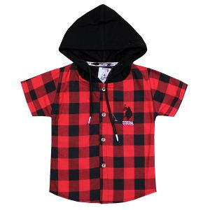 پیراهن کلاهدار پسرانه مدل چهارخونه رنگ قرمز