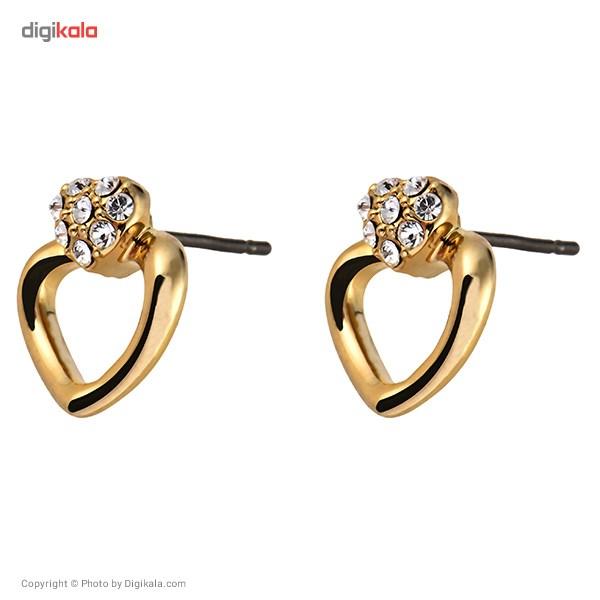 گوشواره میخی الیور وبر مدل Cuore Gold Crystal 22181G