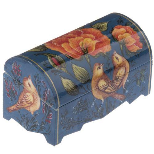 جعبه استخوانی طرح گل و مرغ زمینه آبی
