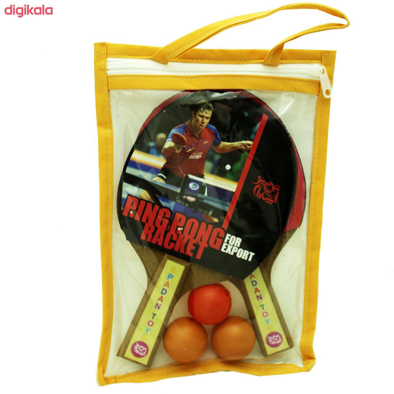 راکت پینگ پونگ اسپادان تویز مجموعه 2 عددی به همراه توپ main 1 2