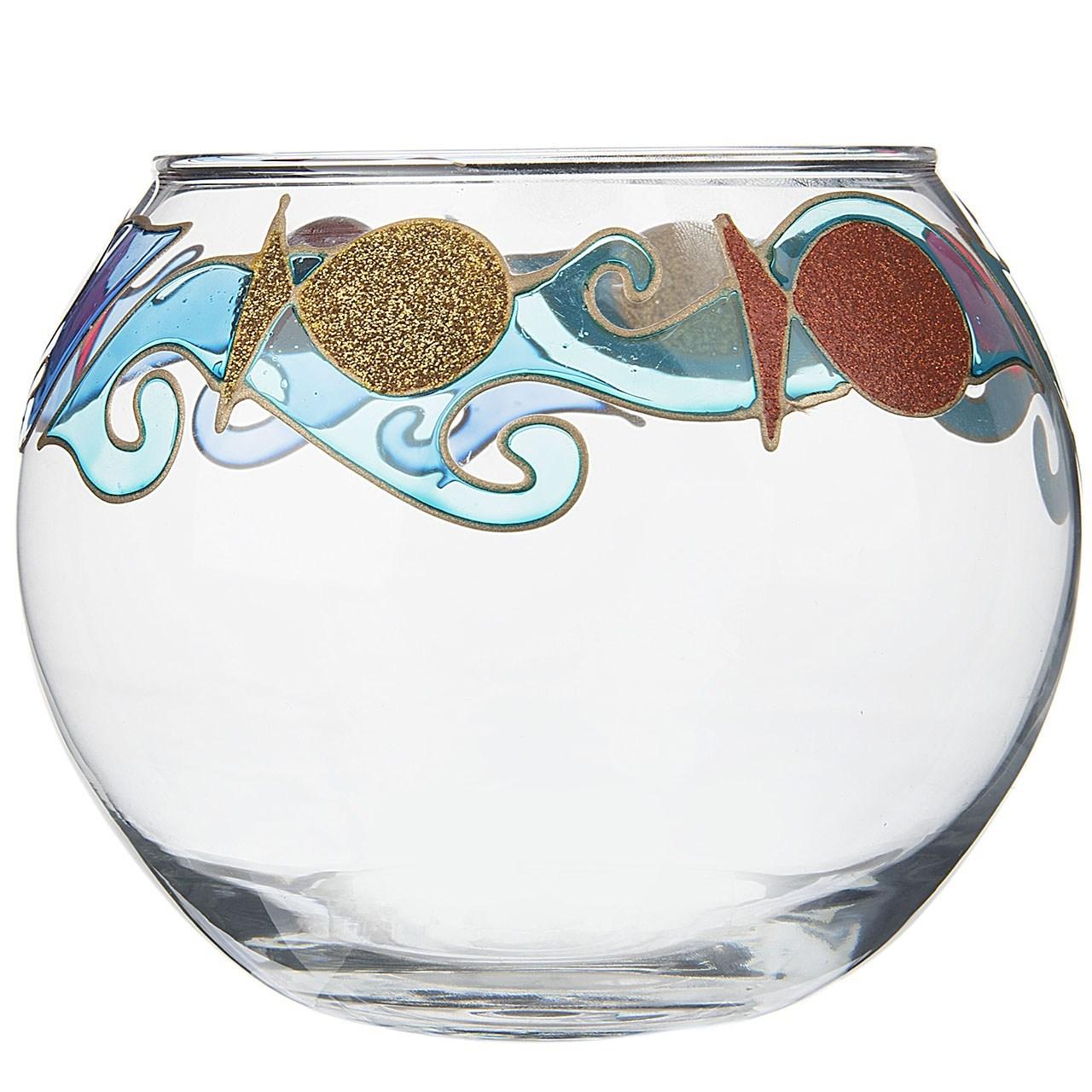 تنگ گرد شیشه ای گالری انار طرح ماهی مدل 134101