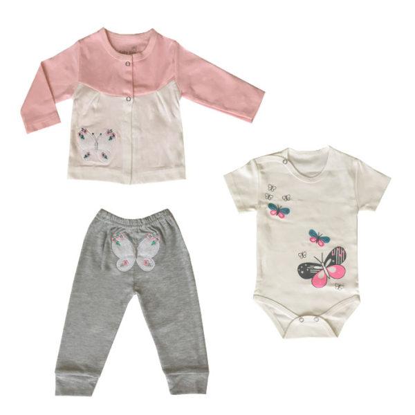 ست 3 تکه لباس نوزادی بی بی وان مدل پروانه کد 471