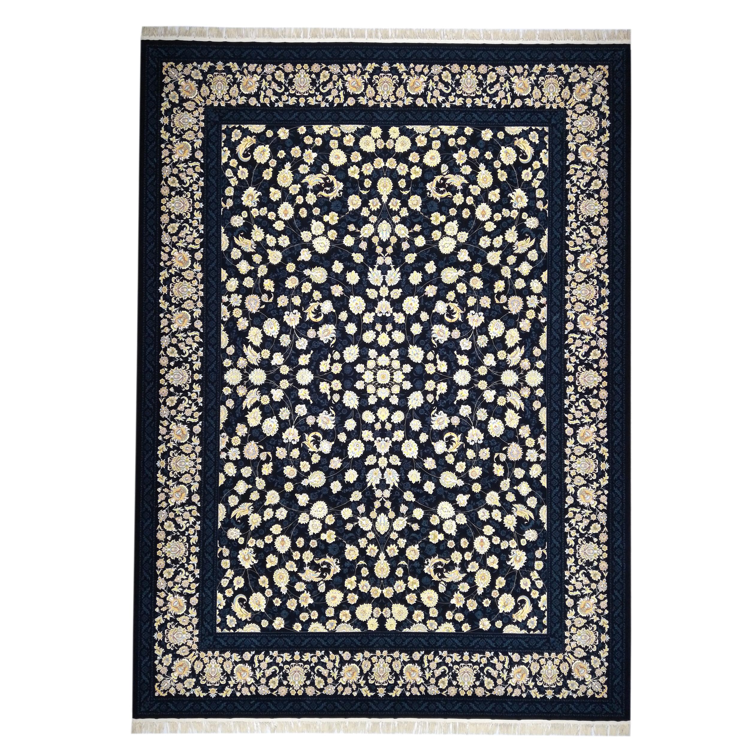فرش ماشینی فرش مارکت تریتا طرح بهداد کد fm1200 66 زمینه سرمه ای