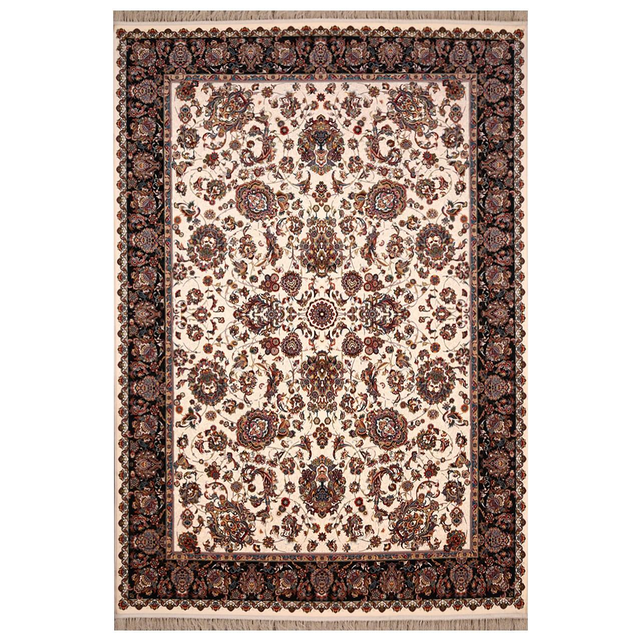 فرش ماشینی فرش هدیه طرح ثریا زمینه کرم